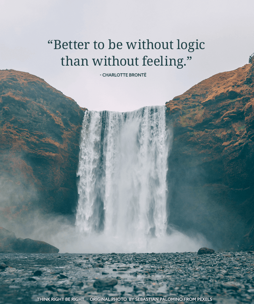 Better to be without logic than feeling - Charlotte Bronte